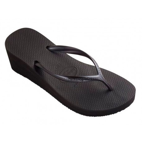 Infradito Havaianas high fashion da donna con zeppa nero