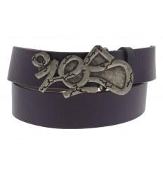 Cintura Ies Tag antichizzata fibbia con gancio retro-fibbia pelle viola