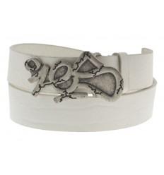 Cintura Ies Tag antichizzata fibbia con gancio retro-fibbia pelle bianco