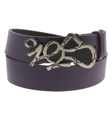 Cintura Ies Tag Nickel antichizzata fibbia con gancio retro-fibbia pelle viola