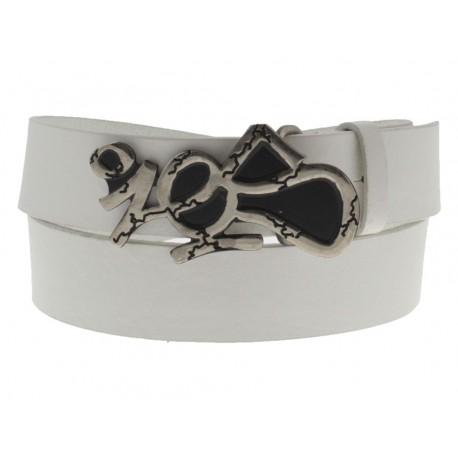 Cintura Ies Tag Nickel antichizzata fibbia con gancio retro-fibbia pelle bianco