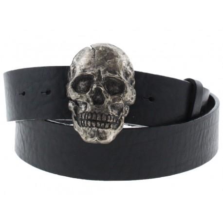 Cintura Ies skull fibbia teschio con gancio retro-fibbia pelle nero