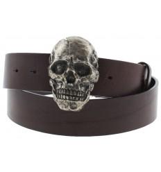 Cintura Ies skull fibbia teschio con gancio retro-fibbia pelle marrone