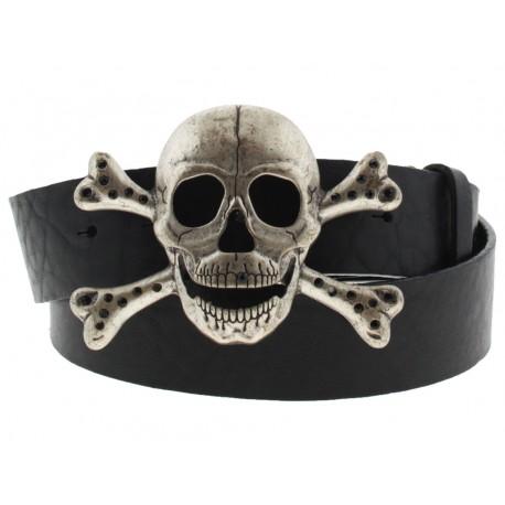 Cintura Ies Skull Bones fibbia teschio con gancio retro-fibbia pelle nero