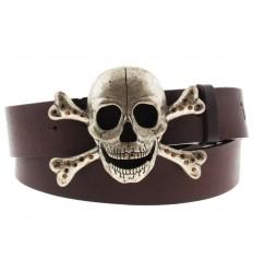 Cintura Ies Skull Bones fibbia teschio con gancio retro-fibbia pelle marrone