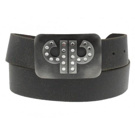 Cinture PellePelle Belts in cuoio fibbia con gancio retro-fibbia brillantini nero