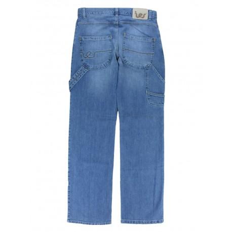 Jeans Ies blast gamba medio-larga vita alta cotone con tascone color jeans