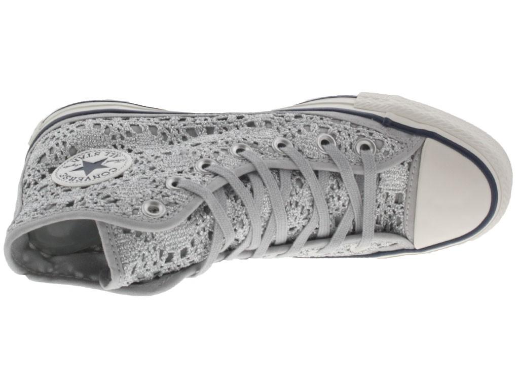 Scarpe Converse Ct as crocet hi donna merletto grigio chiaro ...