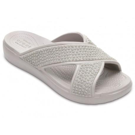 Crocs sandalo sloane laminato donna ciabatta grigio chiaro