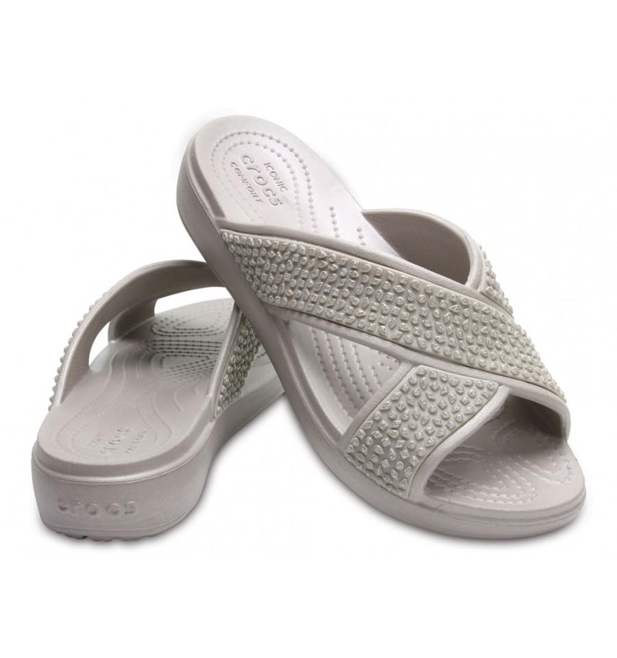 Crocs sandalo sloane laminato donna ciabatta beige Salida De Fábrica Mejor Vendedor Venta En Línea L9l09