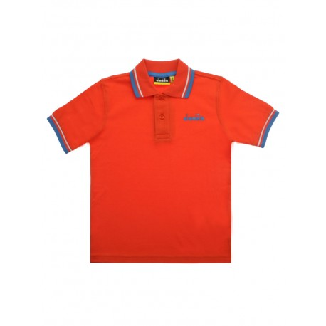Polo diadora manica corta bambino arancione