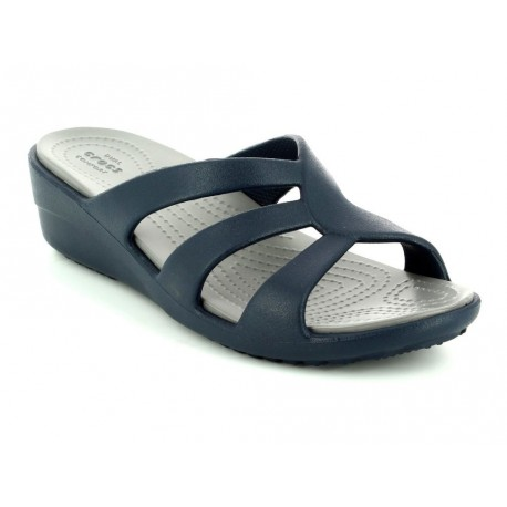 Sandalo Crocs Sanrah Strappy Wedge donna blu