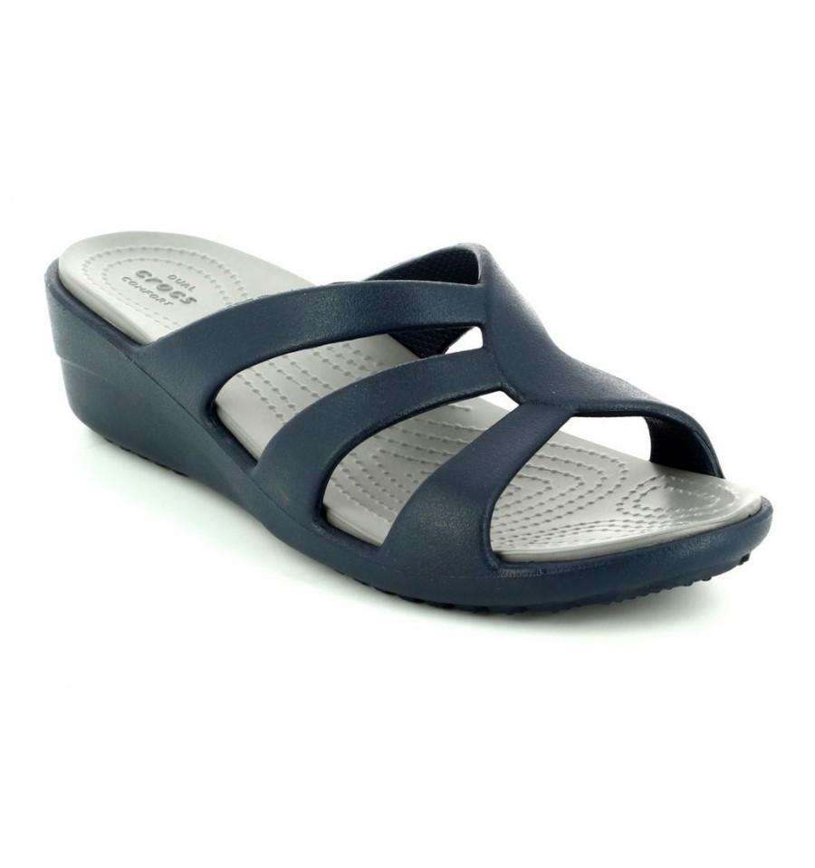 Sandalo Crocs Wedge Strappy Sanrah Donna Blu c3uTlJFK1