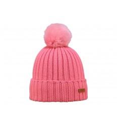 Cappello Barts da donna con risvolto e pon pon rosa