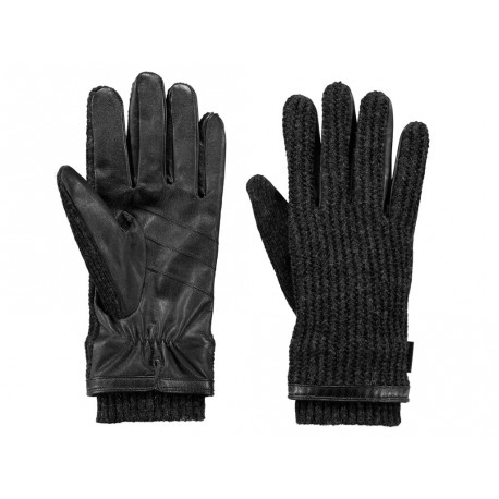 Guanti Barts da uomo in pelle e lana grigio scuro