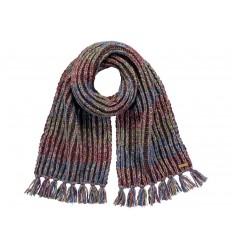 Sciarpa Barts unisex in maglia con frange marrone multicolore