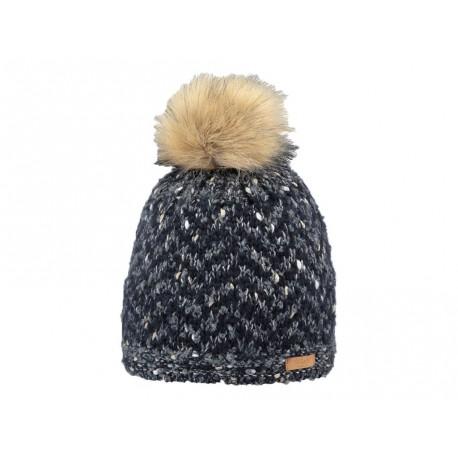 Cappello Barts in maglia con fascai interna pile e pon pon blu