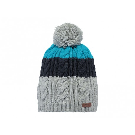 Cappello Barts in maglia a righe con pon pon grigio