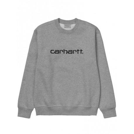 Felpa Carhartt sweat invernale uomo grigio chiaro