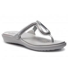 Infradito Crocs Sanrah Metal Block Flat donna grigio chiaro