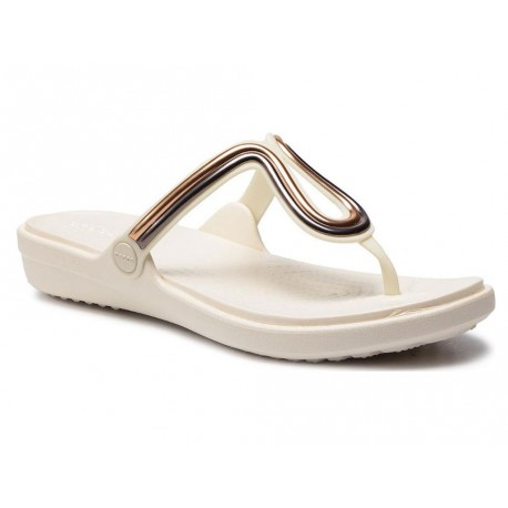 Infradito Crocs Sanrah Metal Block Flat donna bianco