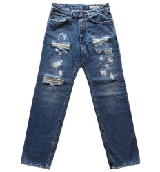 Jeans Derriere Biggie T163 da uomo destroyed blu