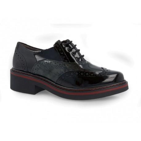 Scarpe Pitillos da donna inglesine bicolore nero