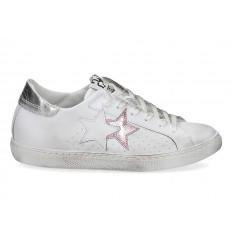 Scarpe 2Star donna laminato bianco rosa