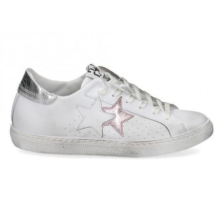 Scarpe 2Star da donna laminato bianco rosa