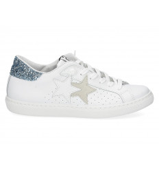 Scarpe 2Star donna glitter bianco azzurro