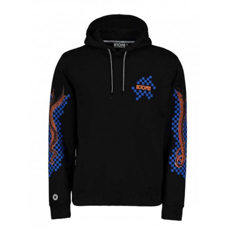 Felpa Octopus Checkered Logo Hoodie da uomo nero