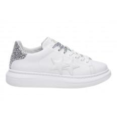 Scarpe 2Star Platform Donna Bianco Argento Glitter