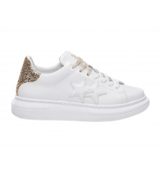 Scarpe 2Star Platform Donna Bianco Oro Glitter
