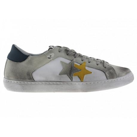 2star Uomo Sneakers Bassa in Pelle Bianca e Crosta Ghiaccio con Dettagli Giallo/Blu