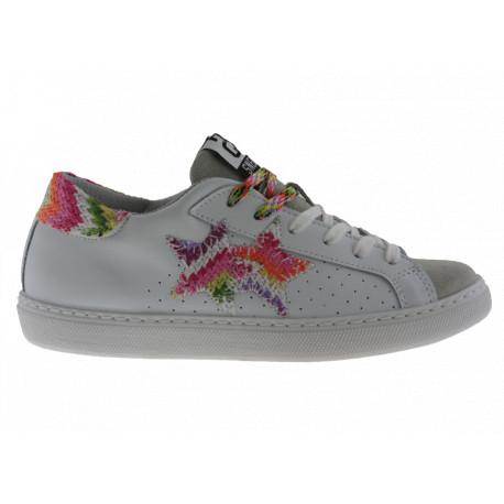 2star Donna Sneakers Bassa in Pelle Bianca e Crosta Ghiaccio con Dettagli Multicolors