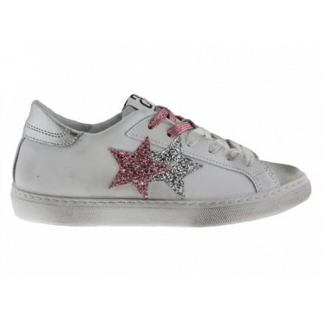 2star Donna Sneakers Bassa in Pelle Bianca-Ghiaccio con Dettagli Glitter Rosa Argento