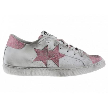 2star Donna Sneakers Bassa in Pelle Bianca con Dettagli Rosa