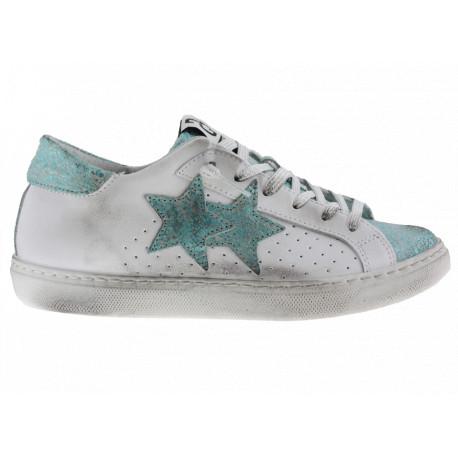 2star Donna Sneakers Bassa in Pelle Bianca con Dettagli Celeste