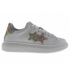 2star Donna Sneakers Princ Pelle Bianca con Dettagli Glitter Multicolor