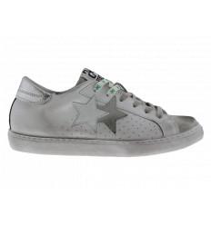 2Star Sneakers Uomo Pelle Low Bianco-Ghiaccio con Dettagli in Verde