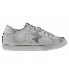 2star Uomo Sneakers Bassa in Pelle Bianca e Crosta Ghiaccio