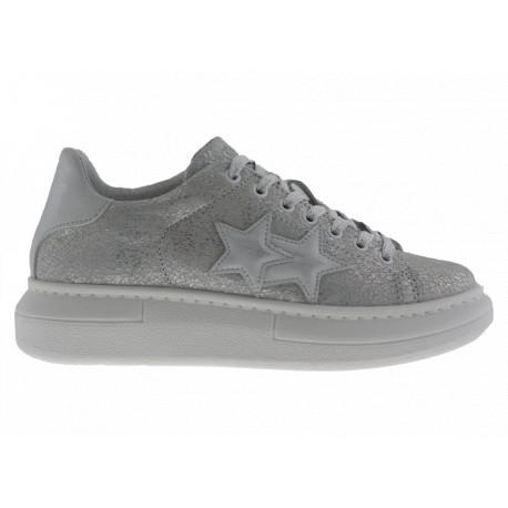 2star Donna Sneakers Princ Pelle Crack Grigio Chiaro Dettagli Bianchi