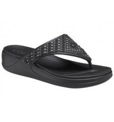 Infradito Crocs Monterey Shimmer Wedge Flip 206843 Donna Nero