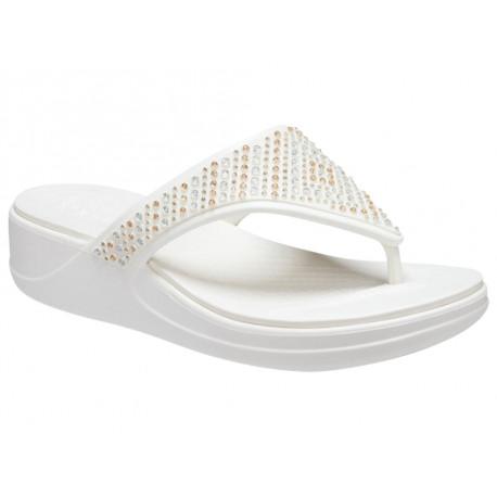 Infradito Crocs Monterey Shimmer Wedge Flip 206843-BLK Donna Nero