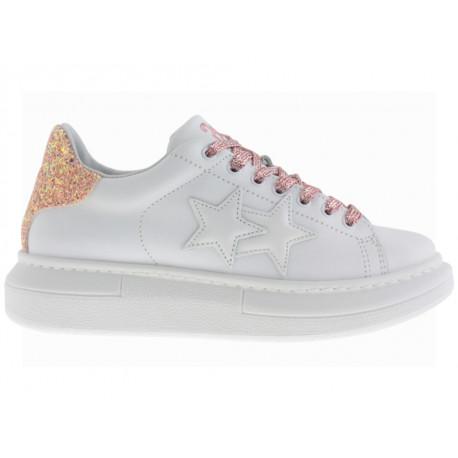 2 Star Scarpe Princess in pelle bianco con dettaglio glitter rosa