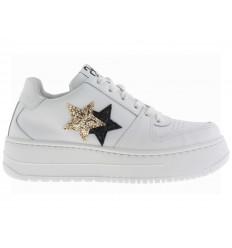 2 Star Scarpe Queen in pelle bianco con dettaglio glitter nero oro