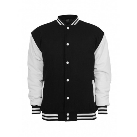 Urban classics Half leather college jacket